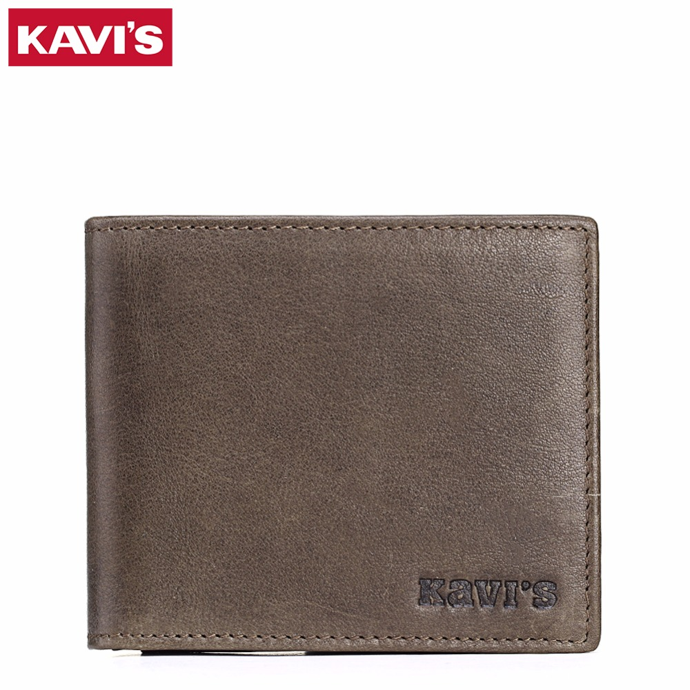 KAVIS 100% High Quality Genuine Leather Men Wallets Fashion Simple Short Dollar Purse Carteira Masculina Bifold Mens Purse Walet cowather 100% top quality cow genuine leather men wallets fashion splice purse dollar price carteira masculina original brand