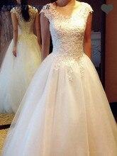 Cheap Vestidos De Noiva Wedding Dress with Cap Sleeve A Line Bridal Dress 2019 Stylish Lace Applique Beading