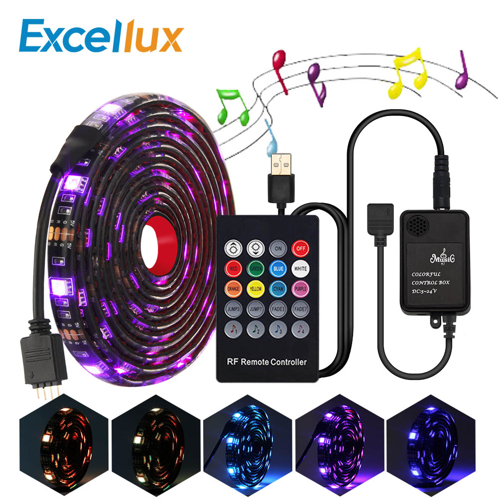5050 RGB USB Led Strip Set With 20Key RF Remote Led Music Controller USB LED Light Strip For TV Background Lamp Ribbon Led Tape