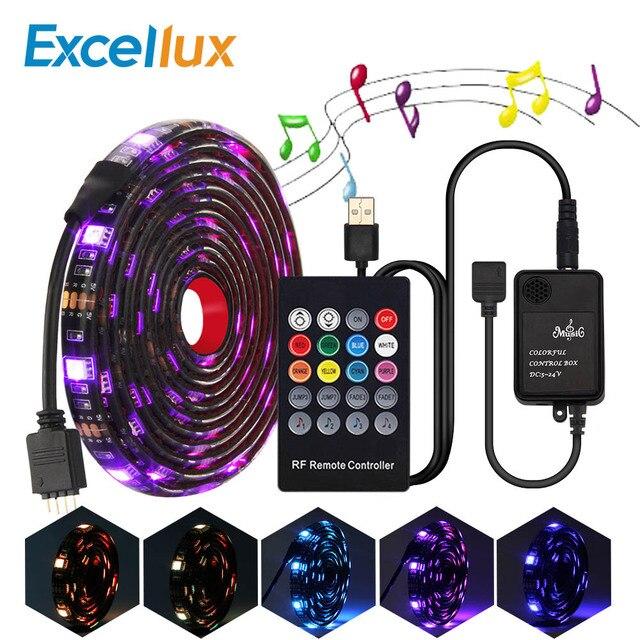 Juego de tiras de luces Led RGB con USB 5050, mando a distancia RF de 20teclas, controlador de música, tira de luces Led USB para lámpara de fondo de TV, cinta LED