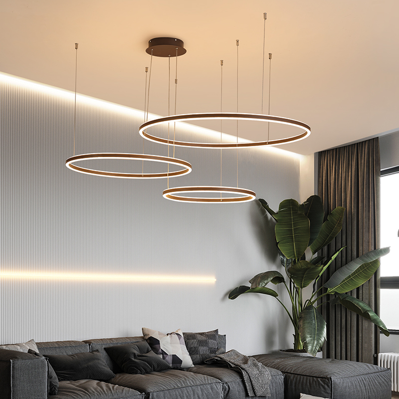 Modern LED Pendant Light ring round RC dimming LED Pendant Lamp living room dining room kitchen