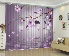 Customized Modern 3D Floral Curtain Dreamy Flowers In The Moonlight Style Practical Curtains