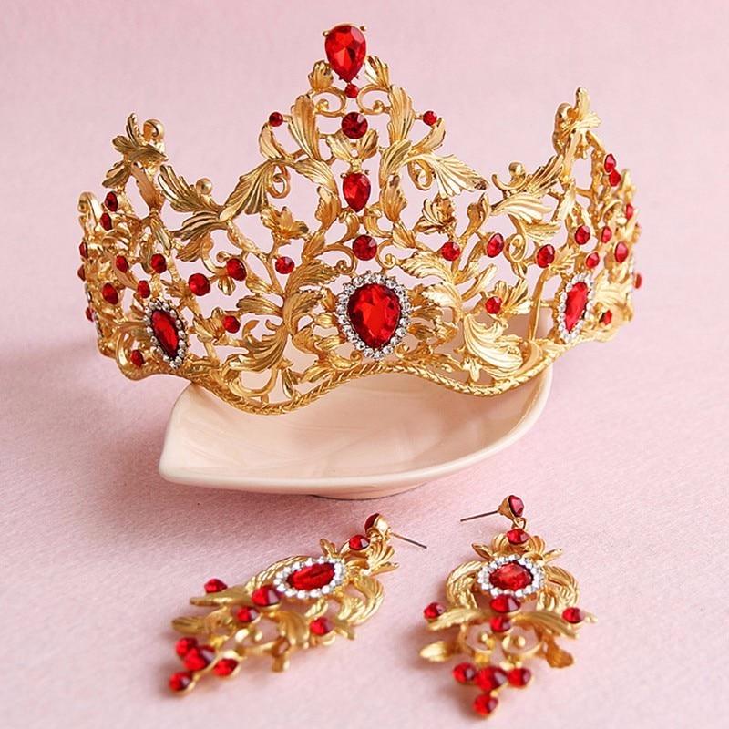 تيجان ملكية  امبراطورية فاخرة European-Hair-Accessory-Retro-Gold-Queen-Crown-font-b-Red-b-font-Rhinestone-Crystal-font-b