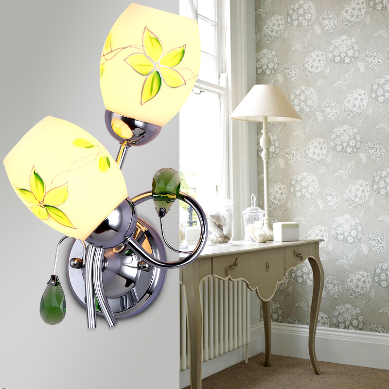 modern brief led double heads acryl iron bedside wall lamp E27*2 romantic wall lighting fixtures for aisle living room A254 2 color northern europe metal wall lamp modern simple minimalism iron wall lighting fixtures for living room aisle