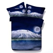 6 Parts Per Set Bed Sheet Set Snow Covered Mt Fiji and Full Moon 3d bed set