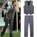 Envío gratuito Beckham bakham trajes para hombre chaleco casual para hombre chaleco delgado pant set ( vest + pant ) no. 94 más el tamaño XXXL 3xl