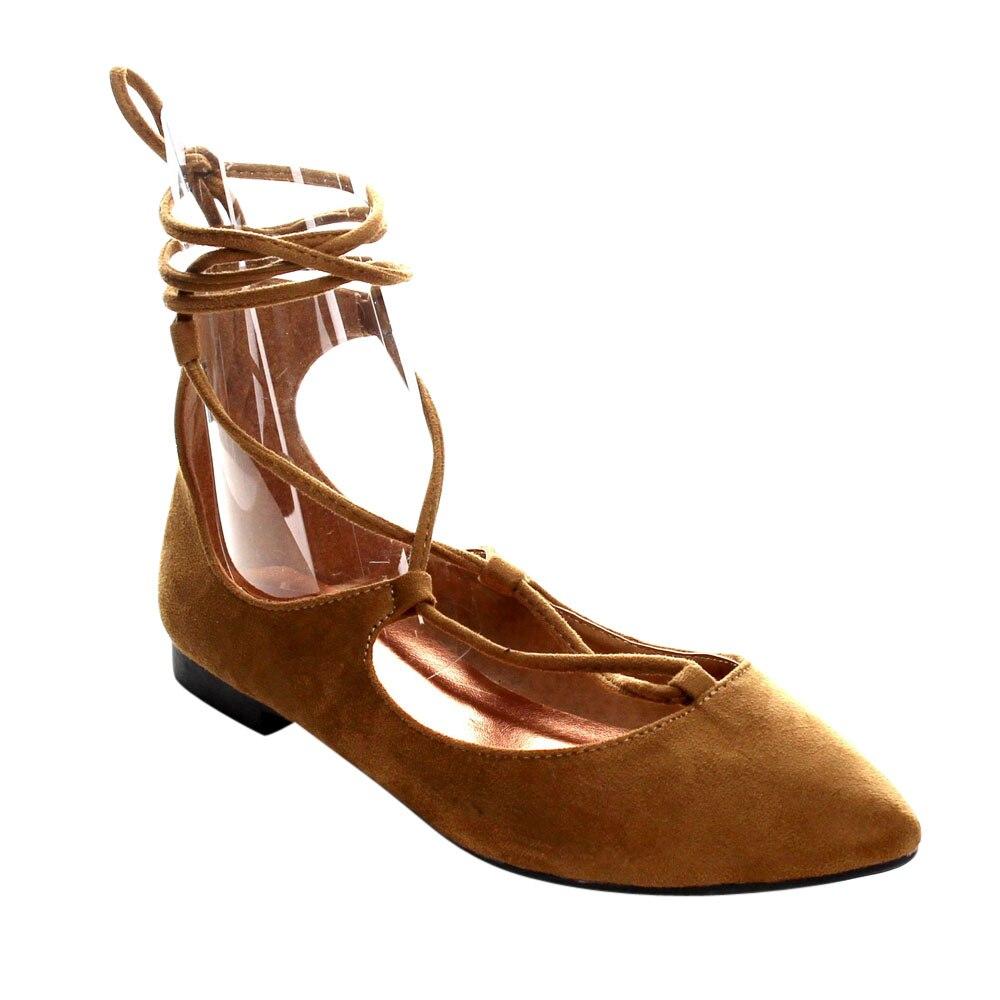 AC26 Starp תחרה עד קרסול נעלי נשים דירות עקב נמוכה מחצית גודל קטן יותר