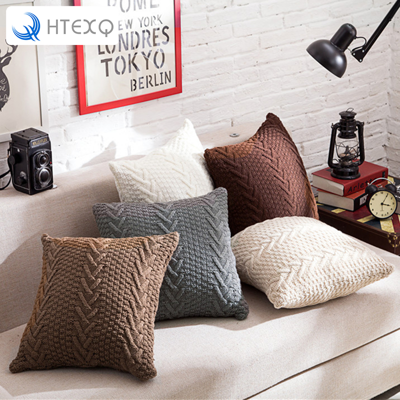 New solid design decorative throw pillow case cover for sofa square 45cm capas knitted zipper cushion