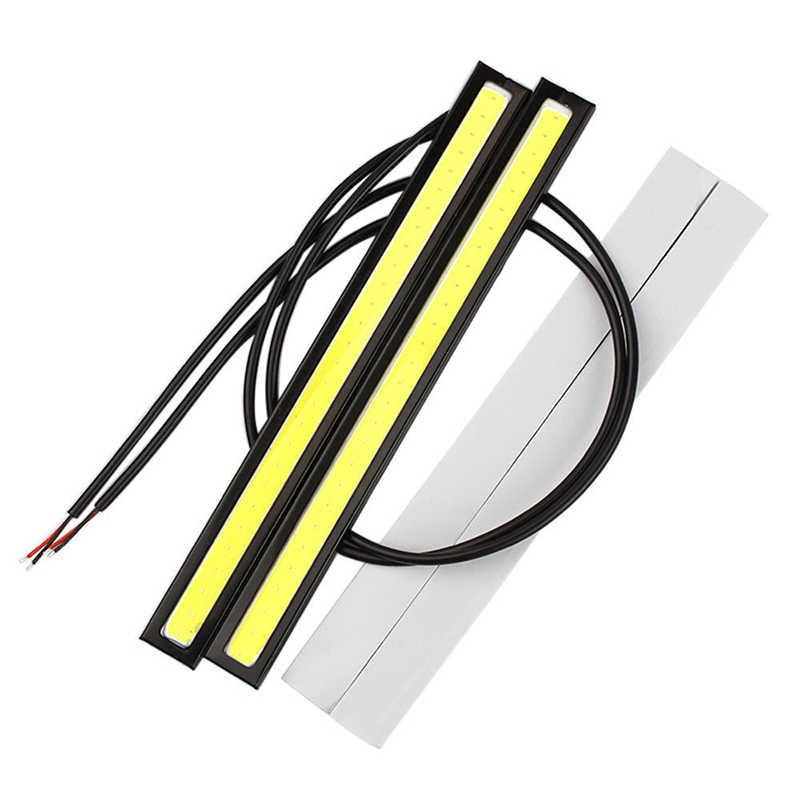 1 adet 17cm evrensel gündüz farı araba COB DRL LED şerit işık dış işıklar otomatik su geçirmez araba Styling led DRL lambası