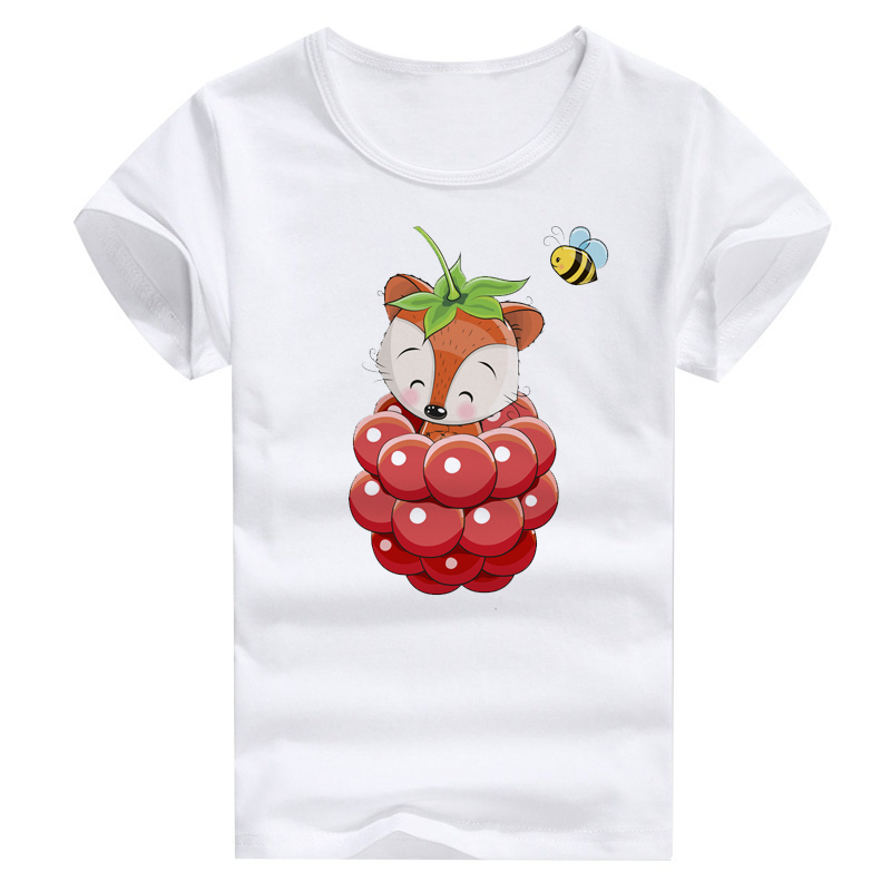 Raspberry Fox And Bee Animal Print Girls T Shirt Wholesales