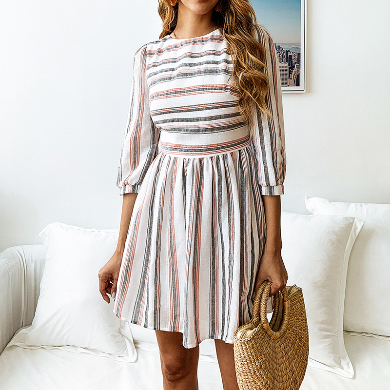 Elagant Striped O-Neck Beach Mini Dress 4