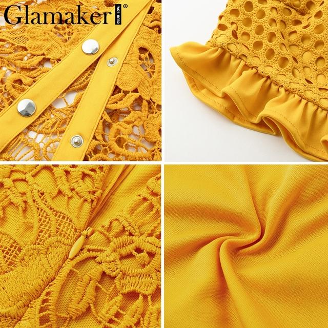 Glamaker Hollow out sexy yellow long dress Women white ruffle two piece maxi dress Bodycon split lace autumn party dress elegant
