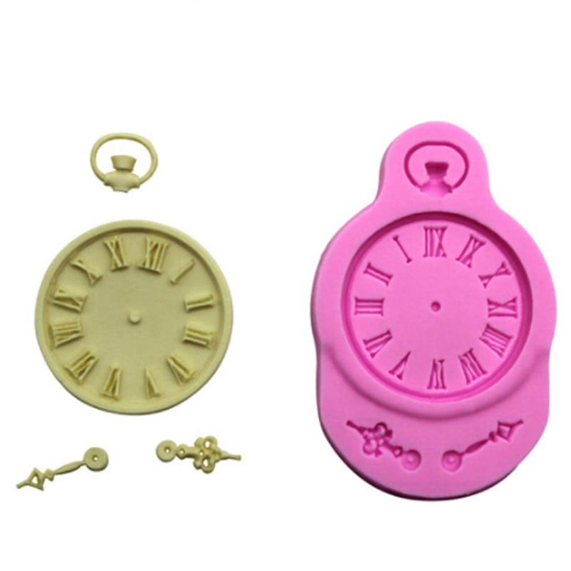 Cupcake Design Kitchen Accessories: 1Pcs Silicone Mold Cake Mould Clock Pocket Watch Cupcake