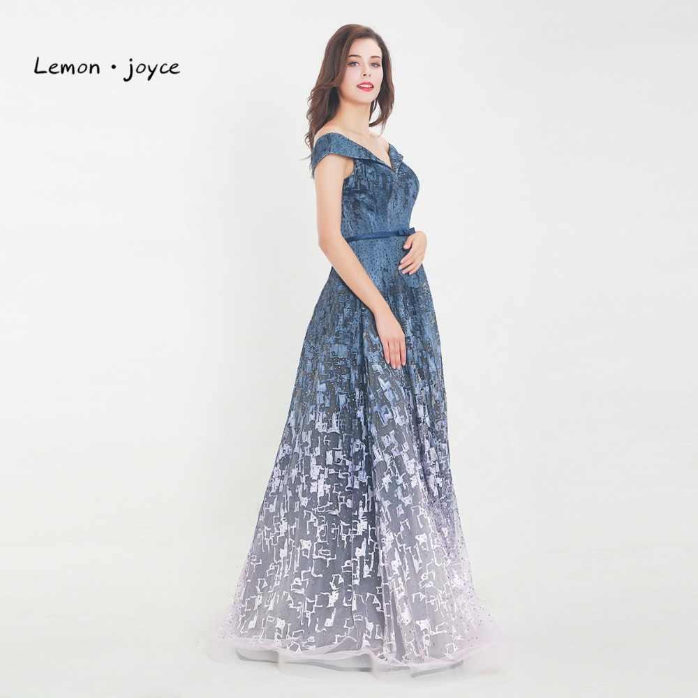 fa708e0a295acf2 ... Lemon joyce стильные вечерние платья 2019 Тюль с кристаллами от плеча  длиной до пола трапециевидные Длинные ...