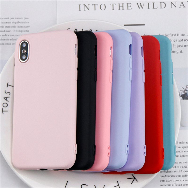 Simple Solid Color Phone Iphone X Case Cute Candy Color Back Cover For Iphone X Case Original Soft TPU Coque