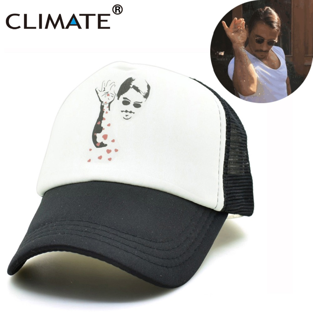 CLIMATE Nusret Salt Bae Men Cool Summer Black Mesh Caps Instagram Star Salt Bae Fans Cool Men Mesh Net Summer Trucker Hat Caps climate new summer cool black mesh trucker caps guardians of the galaxy groot fans printing meh youth nice mesh cool summer caps