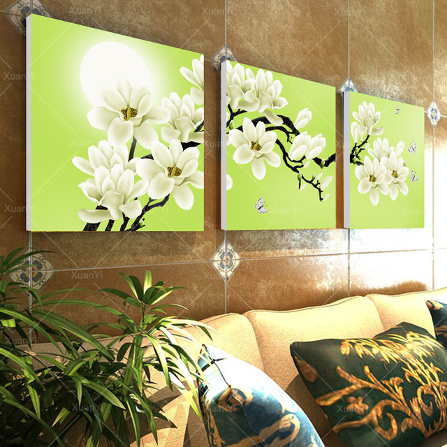 3 Panel Beautiful Flower Wall Art Oil Painting Cuadros Decoracion ...