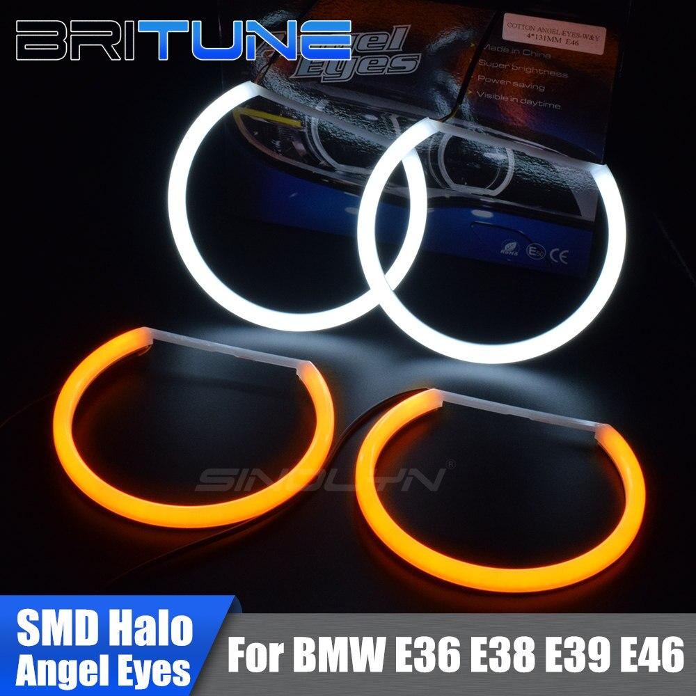 Хлопок светло светодиодный Ангельские глазки DRL Halo с указатель поворота для BMW 3 5 7 серии E46/E36/E38/E39 Автомобильные фары DIY настройки 131 мм