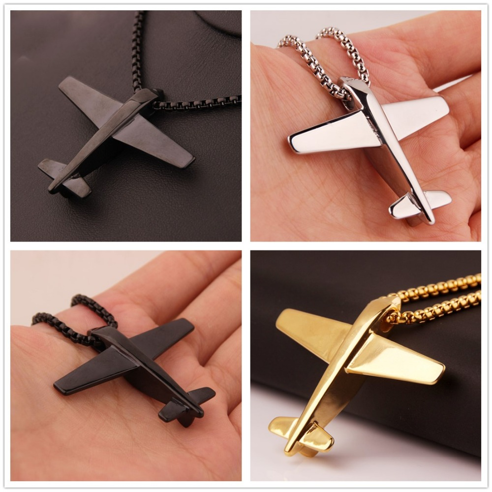 Hot Fashion Men Women Gift Silver Color Gold Black Stainless Steel Airplane Model Pendant Necklace Box Chain 24 Punk Jewelry image