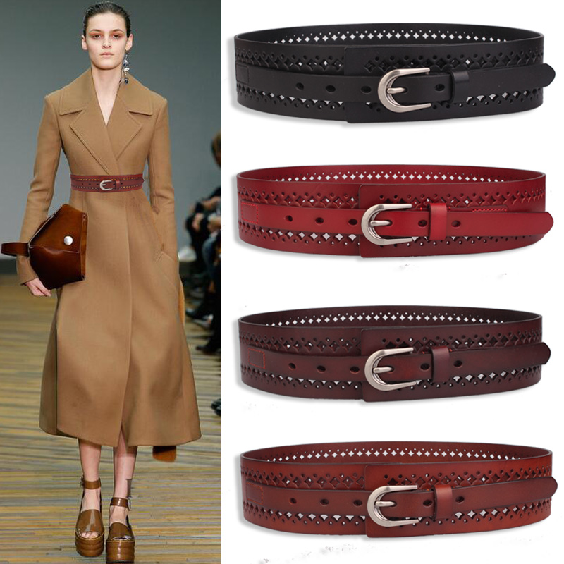 Pure cowhide hollow out belt woman Wide s