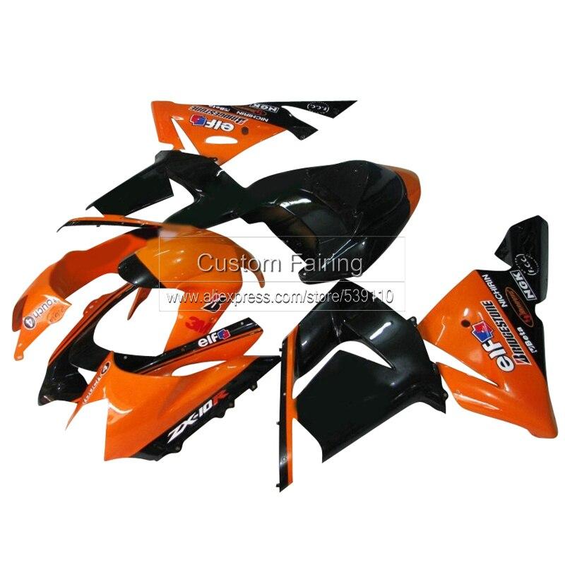 Pièces de moto Orange pour Kawasaki ZX10R zx-10r Ninja 2004 2005/05 04 kit de carénage autocollant noir mat TP51