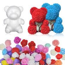 15/20cm Soap Foam Rose Bear Mold Artificial Flower Heads DIY Teddi Bear New Year  for Women Girls Valentines Gift Craft Supplies