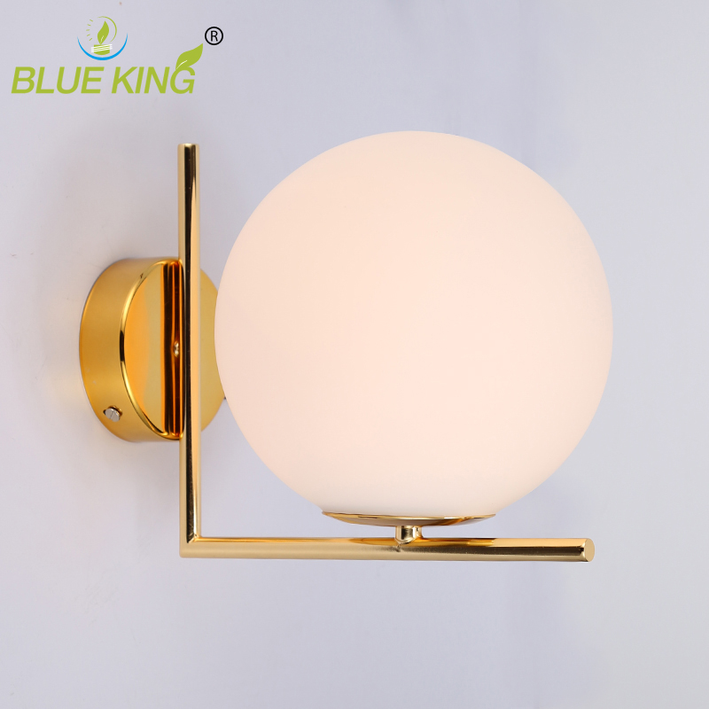 Post modern matte white glass ball Modern Led Wall Lamp Sconce For Living Room Bedroom Wall Light gold iron Indoor Home Decor. сорочка и стринги soft line mia размер s m цвет белый