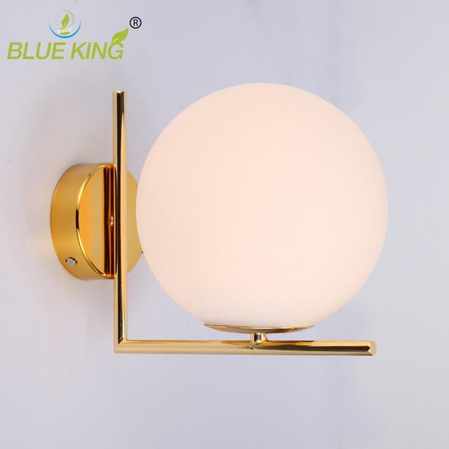 Post modern matte white glass ball Modern Led Wall Lamp Sconce For Living Room Bedroom Wall Light gold iron Indoor Home Decor.