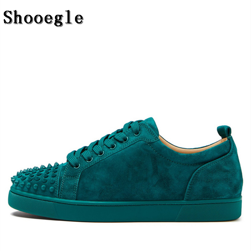 SHOOEGLE Fashion Luxury Spikes Men Shoes Rivets Casual Suede Platform Sneakers Mens Low Top Lace up High Quality Motorcycle Shoe - 3