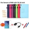 Для Lenovo A7600 10.1 ''Личи PU кожаный чехол обложка капа пункт Для Lenovo tab a10-70 a7600 Tablet PC Smart + экран + Ручка + OTG