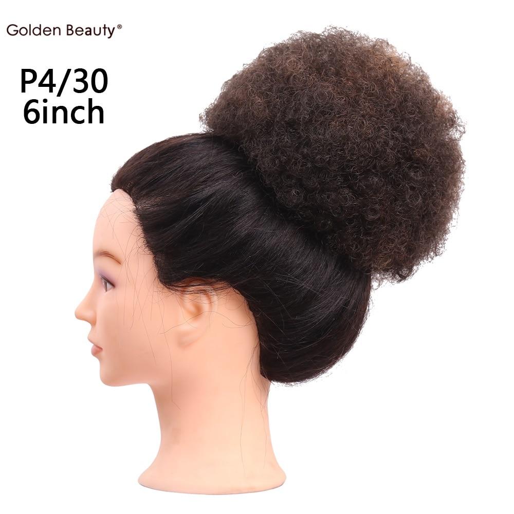 6 tums Elastiskt Net Curly Chignon Med Två Plastkombiner Updo Cover - Syntetiskt hår - Foto 4