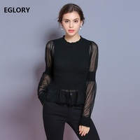 2018 Autumn Winter Runway Sweaters Pullover Women Sexy Sheer Long Sleeve Patchwork Black Jumpers Ladies Vintage Sweaters Female