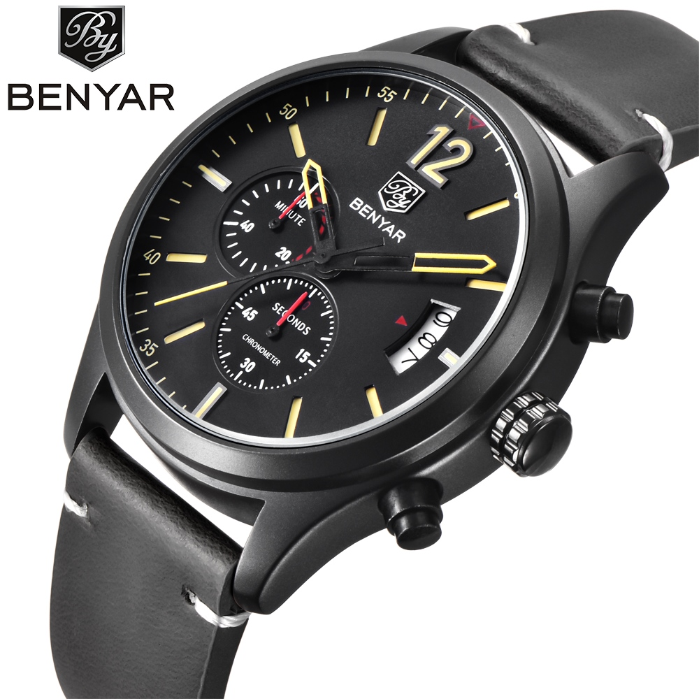 BENYAR Fashion Chronograph Sport Mens Watches Top Brand Luxury Military Quartz Watch Clock Relogio Masculino Reloj Hombre 2016