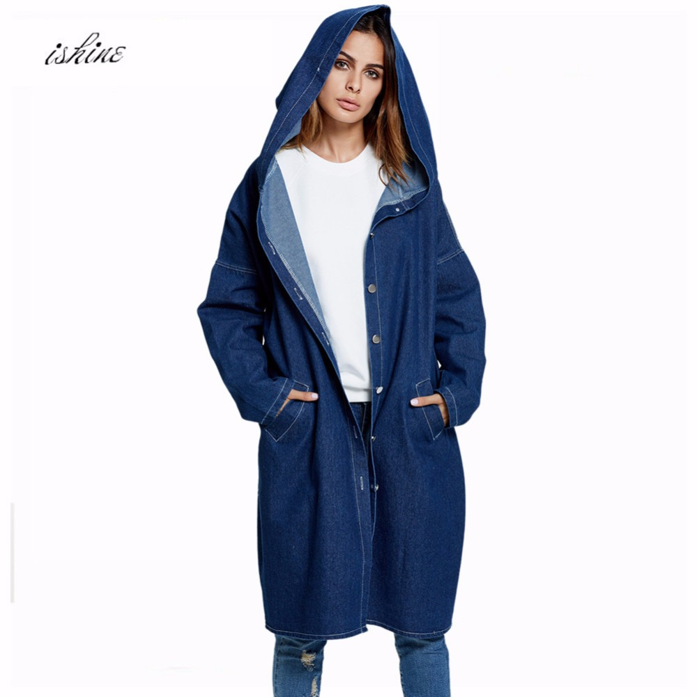 Oversize Long Denim   Jacket   Girls Hooded Denim Outerwear Women Vintage Casual   Basic     Jacket   Jeans Coat Dark Blue Light Blue