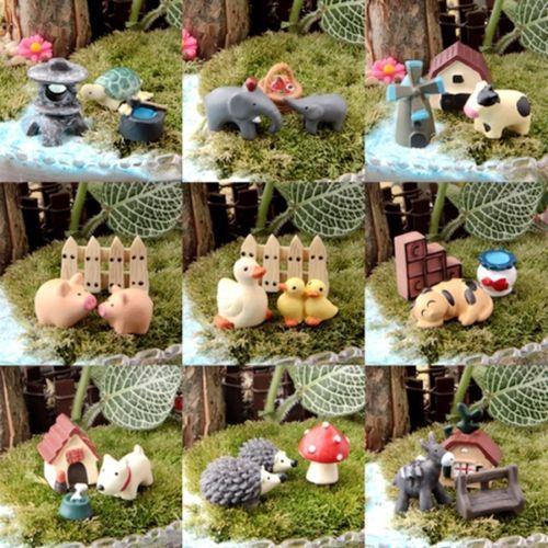 Pig Turtle Duck windmill Hedgehog Cat Animal Miniature Garden Ornament Miniature Resin Figurine Craft Plant fairy garden supply
