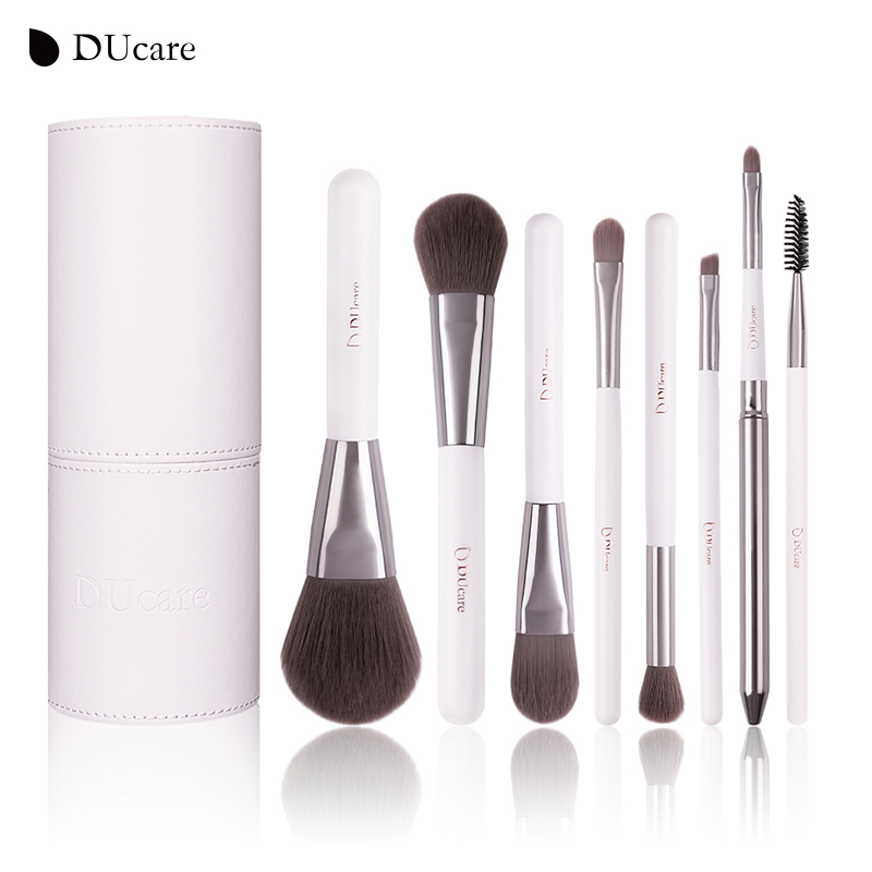 DUcare 8st Cosmetica borstel Set professionele make-up borstels top Synthetisch haar Naturel houten handvat met witte cilinder