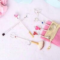 BBL 7 Piece Anime Sailor Moon Silver Makeup Brushes Cardcaptor Sakura Wands Foundation Concealer Brush Cosmetics Tools Maquiagem