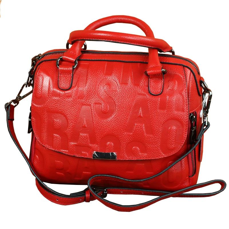 2018 All Match New Style Embossed Letter Women Boston Bag Genuine Cow Leather Female Handbag Elegant