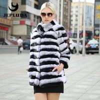 JEPLUDA High Quality Women Real Natural Rex Rabbit Fur Coat Non shearing Furs Real Fur Coat Thick Warm short Women Fur Jacket
