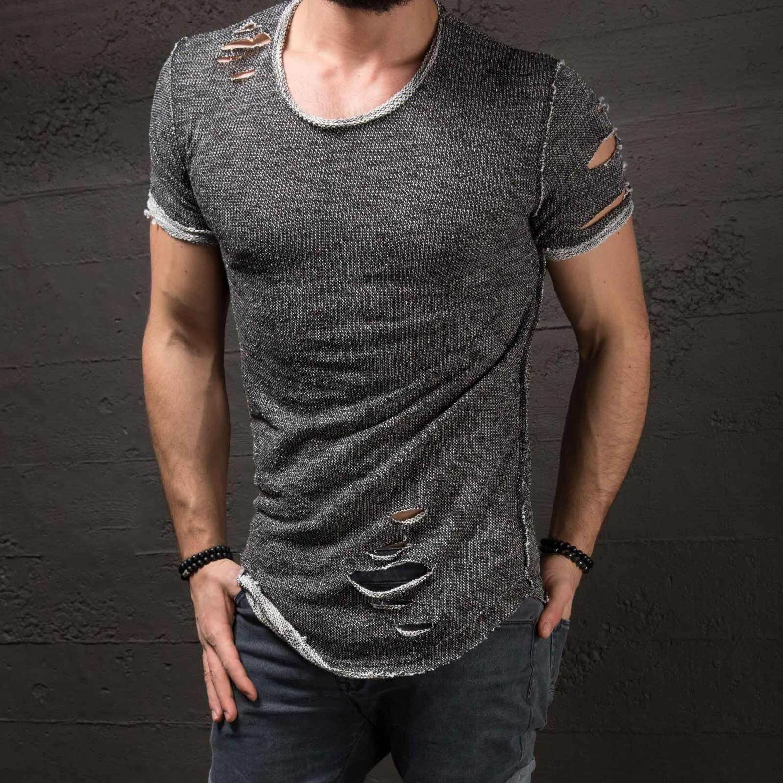 f2b31556a95a Ripped Men'S Slim Fit Muscle O Neck Distressed Tee Hole New Hot Tops Shirt  Casual Short Sleeve Frayed T Shirts-in T-Shirts from Men's Clothing on ...