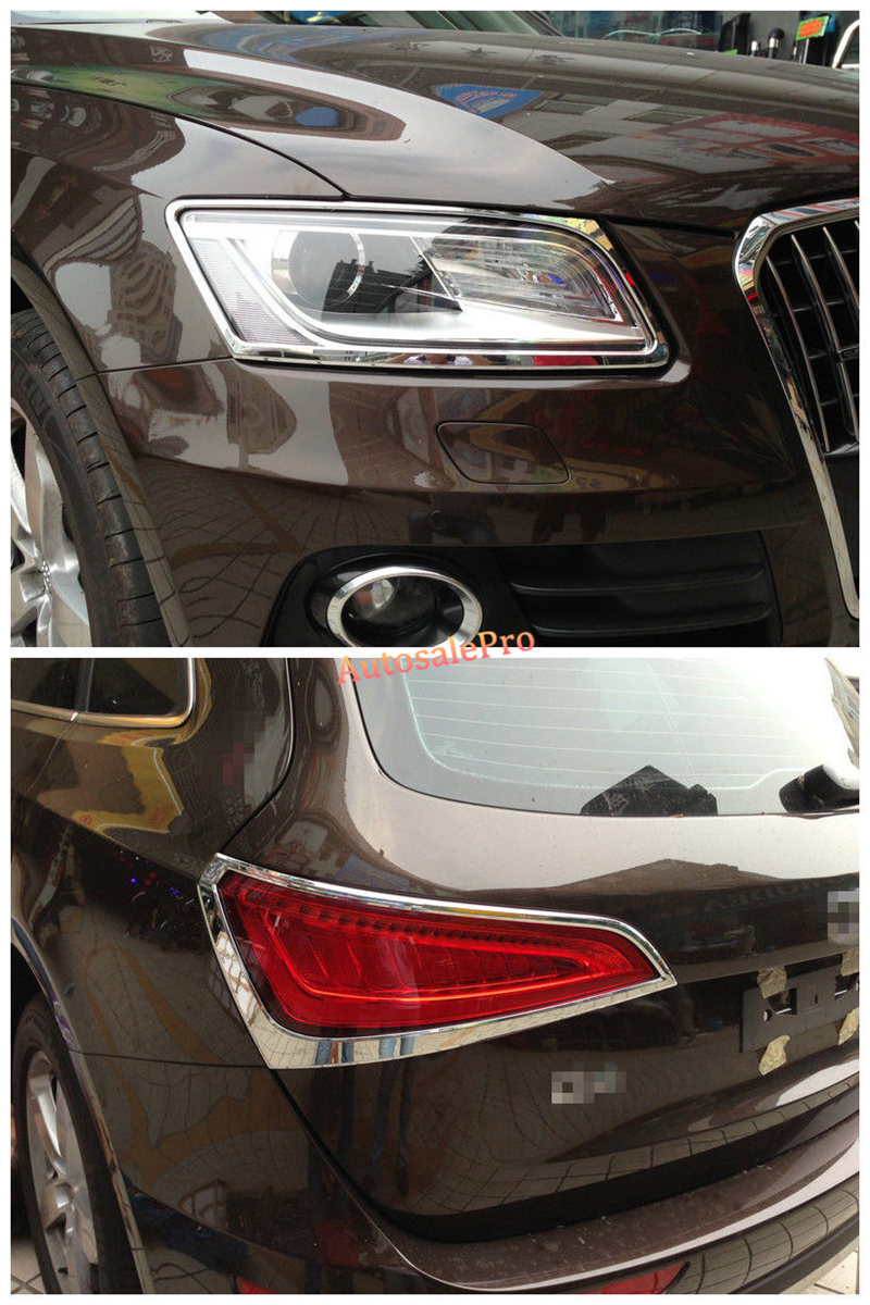 ABS Chrome Front + Rear Light Lamp Frame cover trim 4pcs for Audi Q5 2013 2014 2015ABS Chrome Front + Rear Light Lamp Frame cover trim 4pcs for Audi Q5 2013 2014 2015