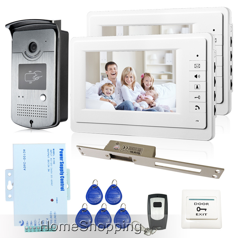 New 7 inch Color Video Door Phone Intercom System 2 Monitors RFID Access Door Bell Camera + 250mm Long Strike Lock FREE SHIPPING new 7 color video door phone intercom system 2 white monitors 1 waterproof rfid access camera electric lock free shipping