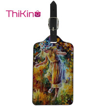 цена Thikin Oil Painting Luggage Tag Women Travel Accessories PU Suitcase ID Address Holder Baggage Boarding Tag Portable Label онлайн в 2017 году