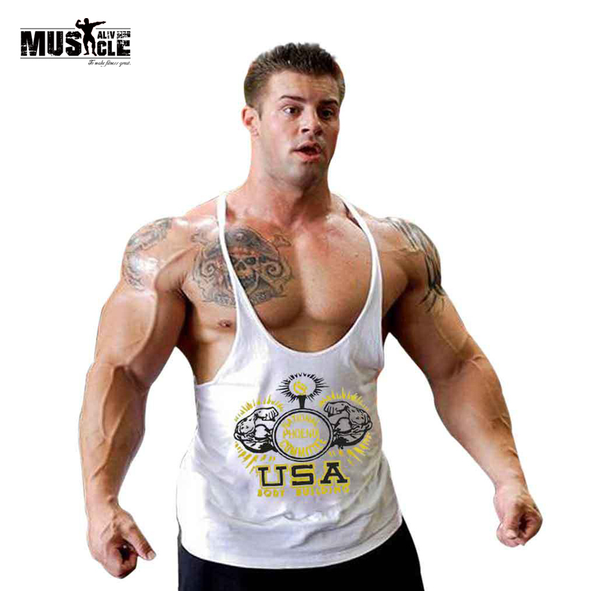 Muscle alive clothes men undershirt men bodybuilding tank for Best fitness t shirts