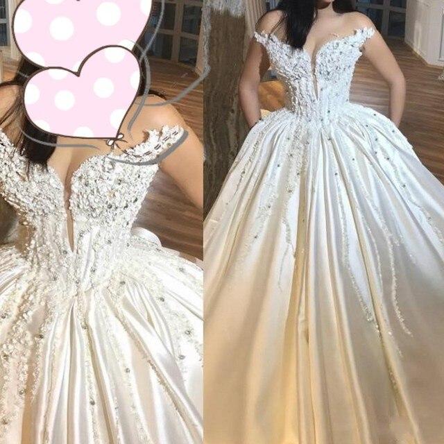 קריסטל שמלות כלה 2018 שמלות כלה יוקרה ארוך חרוזים Vestidos דה Noivas Casamento ערבית שמלת כלה תחרה עד