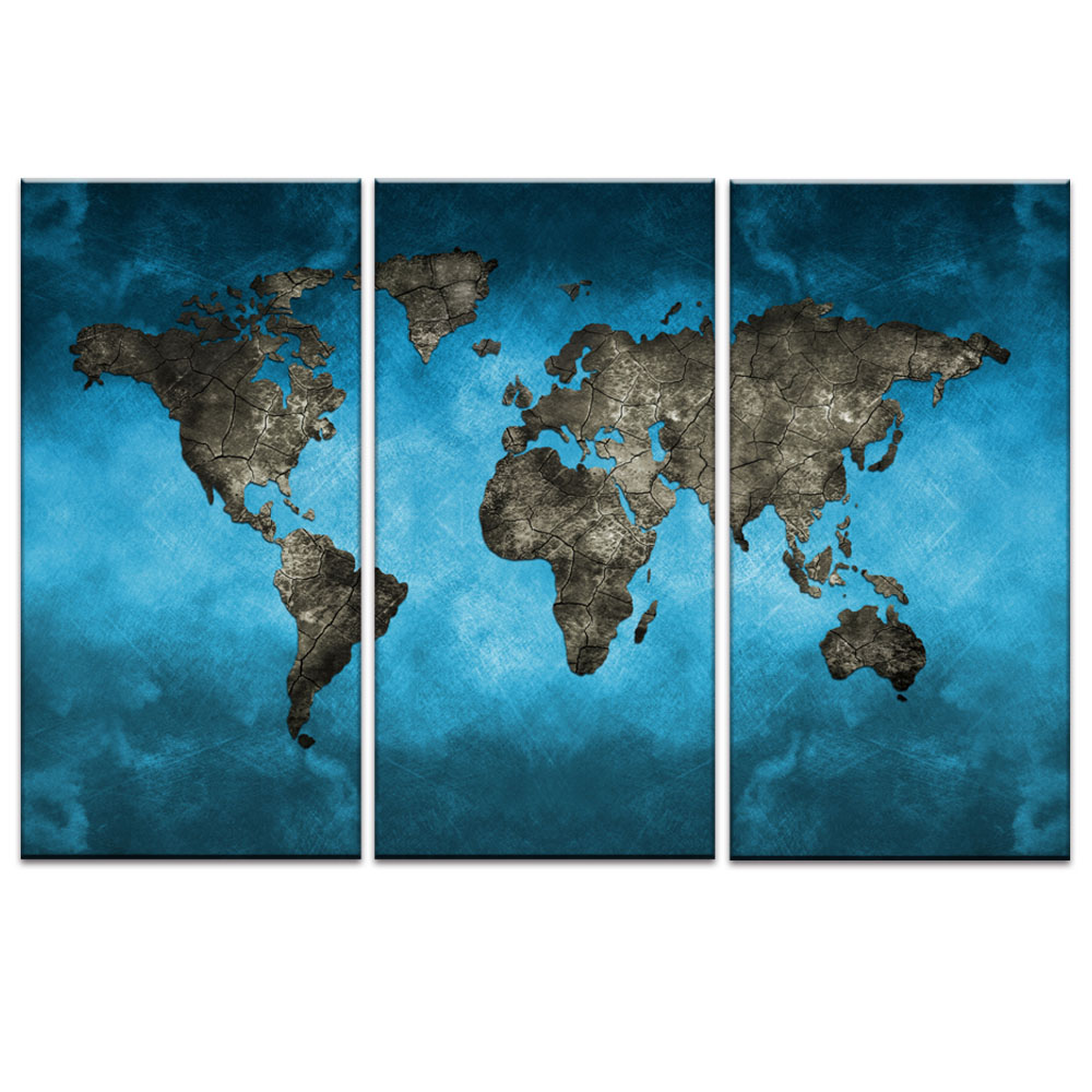Global World Map Canvas Print 3 Piece Modern Abstract Blue World Map
