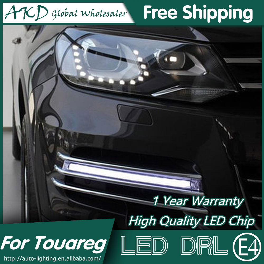 AKD Car Styling for VW Touareg LED DRL 2010-2013 Touareg LED Daytime Running Light Fog Light Signal Parking Accessories hot sale abs chromed front behind fog lamp cover 2pcs set car accessories for volkswagen vw tiguan 2010 2011 2012 2013