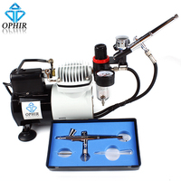 2016 OPHIR Pro Airbrush Compressor With 2x Gravity Dual Action Cooling Fan For Cake Decorating AC114