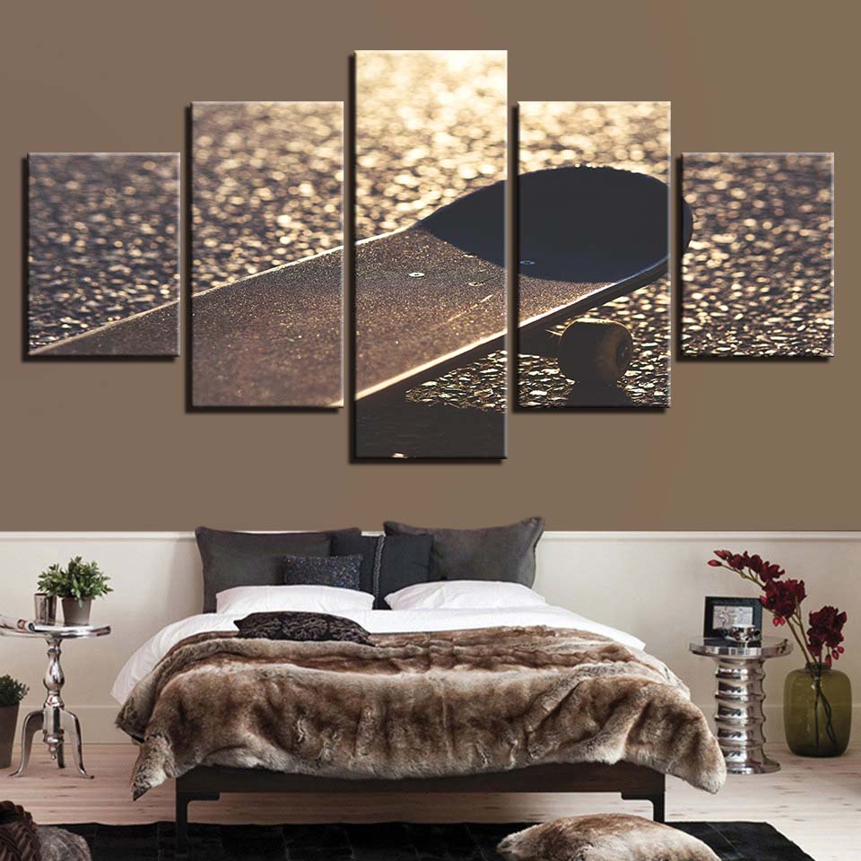 HD Prints Home Decor 5 Pieces Wall Art Bedside Background Modular Skateboard Pictures Artwork Canvas Painting Creative Poster in Painting Calligraphy from Home Garden