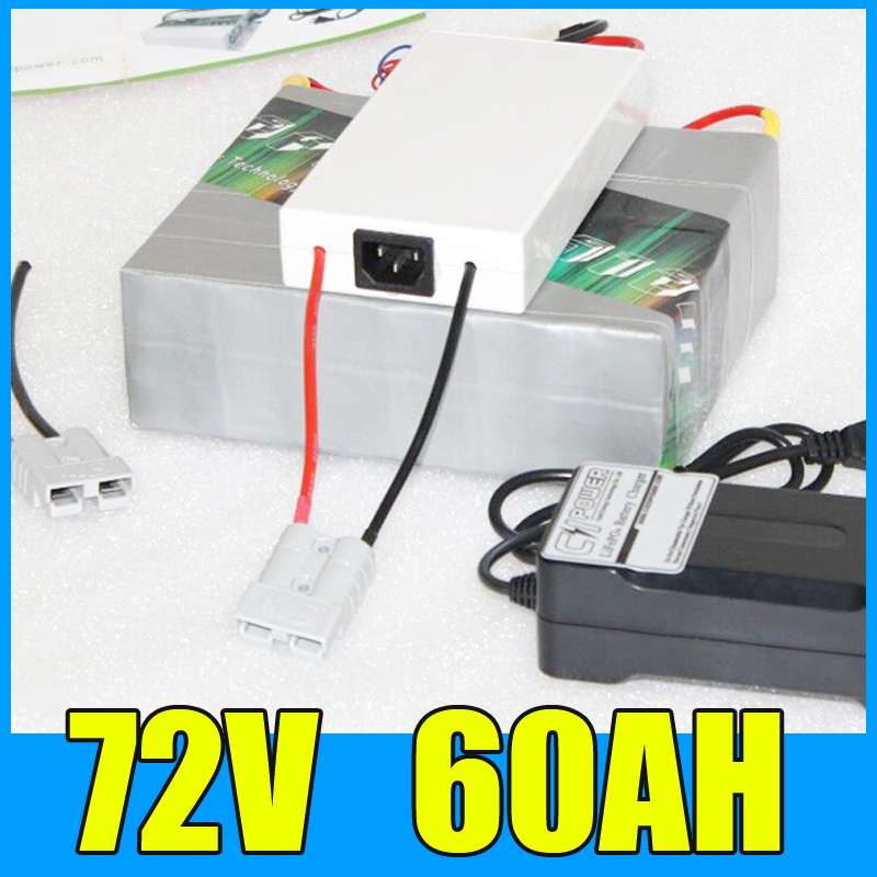 72V 60AH Lithium Battery Pack , 84V 4000W Electric bicycle Scooter solar energy Battery , Free BMS Charger Shipping